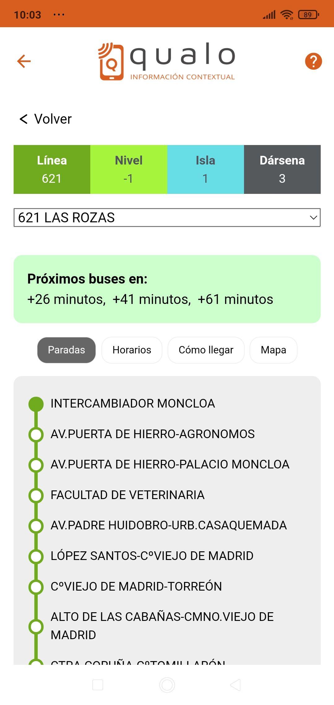 Detalle línea + paradas
