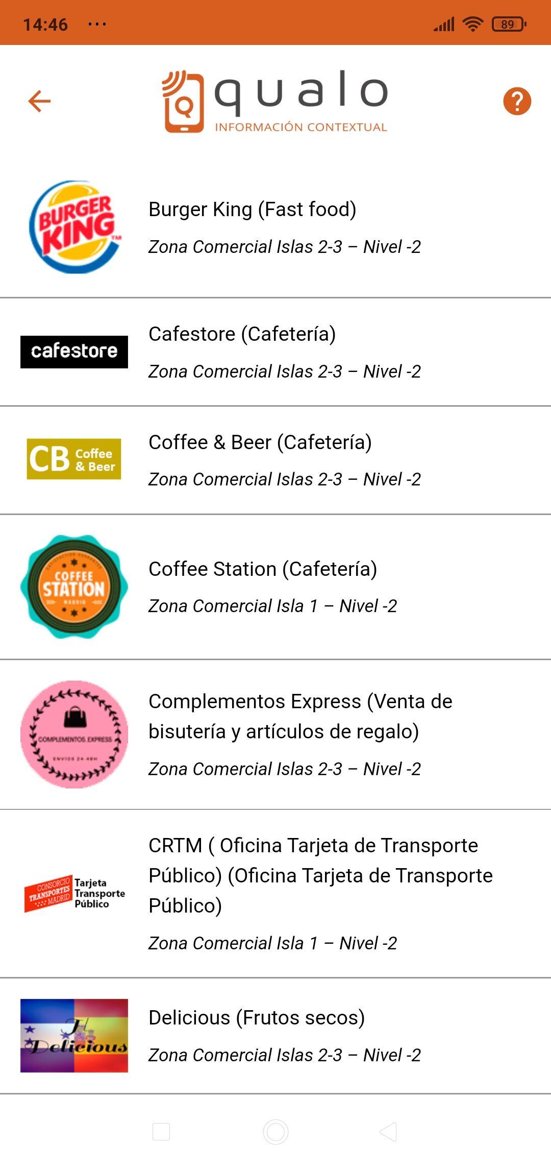 Listado de locales comerciales